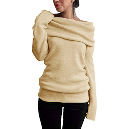 $enCountryForm.capitalKeyWord UK - 2018 Long Pullover Women Off Shoulder Sweaters Wool Cowl Neck Long Sleeve Solid Knitted Tops Pullover female Jumper Ladies Tunic C18110601