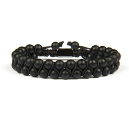 macrame beads wholesale UK - Bracelet Homme Double Beaded 6mm Matte Agate & Black Onyx Natural Stone Beads Macrame Friendship Bracelet Nice Gift Top Quality