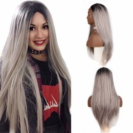 grey woman wig 2019 - Free Shipping Glueless Black to Grey Synthetic Lace Front Wig High Temperature Silky Straight Wigs 180% Density Long Omb