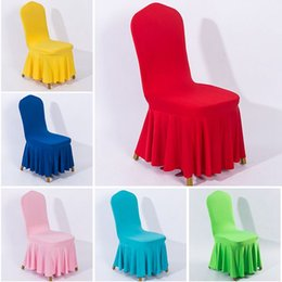 $enCountryForm.capitalKeyWord Australia - Chair skirt cover Wedding Banquet Chair Protector Slipcover Decor Pleated Skirt Style Chair Covers Elastic Spandex High Quality Home Decors