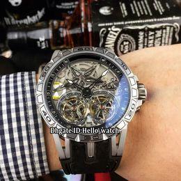 double tourbillon watch 2019 - Brand New Excalibur 46 Double Tourbillon RDDBEX0643 Skeleton Dial Automatic Mens Watch Silver Steel Case Rubber Strap Hi
