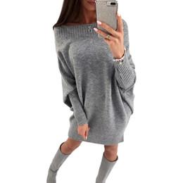 $enCountryForm.capitalKeyWord NZ - Off Shoulder Batwing Sleeve Sexy Club Women Knitted Sweater Dress Female Slash Neck Casual Winter Dresses Loose Vestidos 2018 Gray White