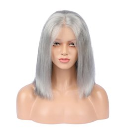 gray lace front human hair wigs UK - Grey Human Hair Wigs Peruvian Virgin Human Hair Full Lace Wig Silk Straight Gray Full Lace Wigs Glueless Wigs