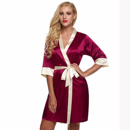 b1f5cf41ca ... Sexy Silk Rayon Kimono Pijamas Soft Dress Sleepwear Sexy Albornoz 8  Fotos Encontrar similares Lingeries Mujer arriba de la rodilla Mini ropa de  dormir