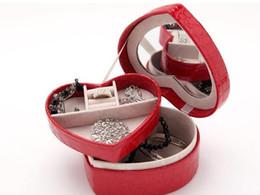 korean mirror box 2019 - 2018 PU leather creative jewelry box Jewlery Carrying Case with Mirror Jewelry Ring Display Box Storage Box Organizer di