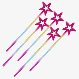 $enCountryForm.capitalKeyWord UK - Hot sale Children Girl Princess Five pointed Star Fairy Wand Magic Sticks Cosplay Props Birthday Party Favors Gift
