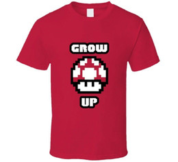 Grow Up Mario Bros Super Divertente T-shirt a fungo rossa Camicia casual in cotone Top bianco