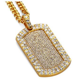 army dog chain NZ - 18K Golden silver full diamond Pendant necklace bling bling jewelry hip hop jewelry army card necklace for men women party gifts 516