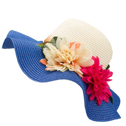 Chinese  Fashion Mother Daughter Hat Lady Wide Large Brim Floppy Summer Beach Sun Straw Hat Cap with flower manufacturers