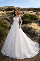Discount images hot dresses - 2019 Long Sleeve Lace Wedding Dresses Sexy V Neck Backless Bridal Formal Gown Elegant Hot Sale Wedding Dress for Bride