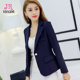 $enCountryForm.capitalKeyWord NZ - VDOGRIR Grey Solid Blazers For Women Autumn Spring Short Single Button Blazers Notched Collar Casual Office Lady Suit Coat