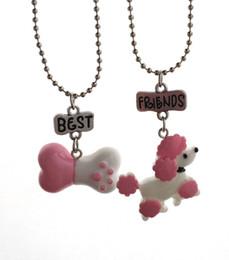 Poodle Pendants Wholesale NZ - Children Best Friends Necklace Resin Simulation Pink Poodle Dog Bone Pendant BFF 2 Necklace Jewelry Gift For Kids 2PCS Set