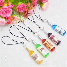 charms for mobile phones 2019 - Yaoding Mini Red Wine Bottle Keyring Keychain for Mobile Phone Bag Red Wine Bottle Phone Charms Beer Handbag Pendant BBA