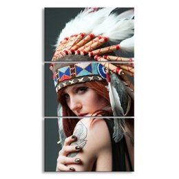 Art Canvas Prints Australia - 3 pieces high-definition print art American Indian canvas feathered painting poster and wall art living room picture RW-067