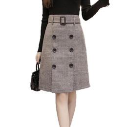 4e27c2ae31e6 Fashion Autumn Winter A-line Skirt 2017 Plus Size High Waist Saias  Femininas Casual Women Midi Skirts Female Woolen Plaid Skirts