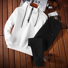 Draped Jersey Canada - Set head fleece jerseys cotton leisure fleece fashion youth large size printed hat letter jacket simple casual long-sleeve suit men