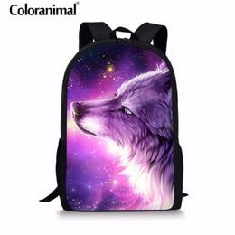 Coloranimal 3Pcs Set Purple Cool 3D Animal Wolf Print Man Large Backpack  Orthopedic Schoolbags Boy Girl Male Mochila School Bag Y18100705 f1798c5a9735d