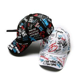 BaseBall cap print online shopping - Spring graffiti printing baseball cap Child parent hat Long tail hip hop hat cap