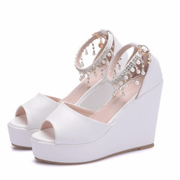 359df202a3fe New Bohemia style peep toe shoes for women beading super heels fashion  platform beading wedding shoes wedge heels Plus Size Bridal sandals