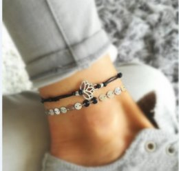 Flower anklets online shopping - 12pcs Lotus Anklet Jewelry Beach Anklet Yoga Anklet Jewellery Lotus Flower Charm