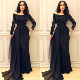 $enCountryForm.capitalKeyWord NZ - Middle East Arabic Mermaid Evening Dresses with Sparkly Sequins Illusion Sleeves Dubai Vintage Prom Party Gowns Boat Neck Long Formal custom