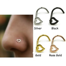 $enCountryForm.capitalKeyWord Canada - 5 Style Heart Nose Studs Piercing Ornament Nose Ring Screw Stainless Steel Curved Nose Nails Support FBA Drop Shipping G615S