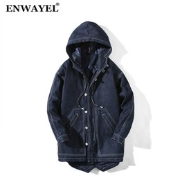$enCountryForm.capitalKeyWord NZ - Autumn Winter Jacket Men Parka Denim Jeans Quilted Padded Wadded Windbreaker Hooded Male long Jackets Parkas Overcoat