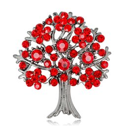 Plates Gift Europe UK - Europe fashion crystal tree of life brooch for men costume statement jewelry Christmas gift