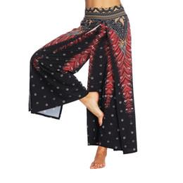 China Yoga Pants Bohemian Double Layers Full Length High-waisted Elastic Waist Wide Trousers cheap bohemian yoga pants suppliers