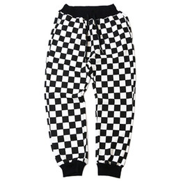 spring tracking UK - Men Plaid Pant Hip Hip Streetwear Harajuku Jogger Sweatpant Black White Men Casual Sweat Pant Track Trousers Cotton 2018 Spring
