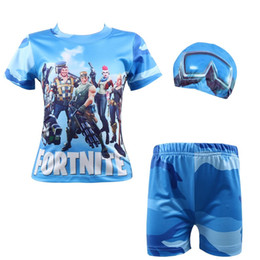 45db07e08b New hot fortnite boys swimming suit big boy swimwear with cap chidlren rash  guard shirts kids cosplay beach wear