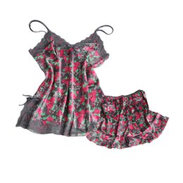 Sexy Pajamas Women Silk Lace Floral Braded Robe Sleepwear Lingerie Nightdress Babydoll Pajamas Set V Neck Pyjama Pants Shorts from one piece ladies clothes suppliers
