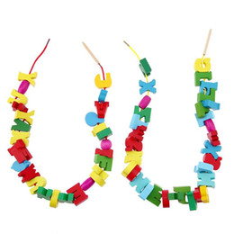 Wooden threading beads online shopping - 60pcs Wooden Toy Fruit Number Alphabet Letter Stringing Threading Beads Game Kids Montessori Educational Wood Puzzle