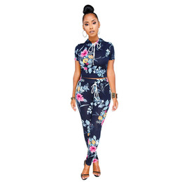 $enCountryForm.capitalKeyWord UK - Adogirl Casual Hooded Print Drawstring Summer Women Tracksuit Suit 2018 Two Piece Set Short Tops and Long Pants Clothing Sets