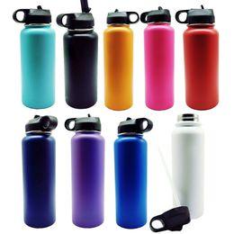 Bottiglia di acqua di vuoto 18oz / 32oz / 40oz Bottiglia di acqua di acciaio inossidabile 304 isolata Bocca larga bottiglie di viaggio di grande capacità con coperchi in Offerta