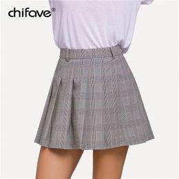 74ea6dd68 2018 chifave Women Girls Plaid Skirt High Waist Pleated Skirt A-line School  Uniform Shorts Casual Bottoms Plus Size Female
