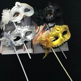 holding sticks for mask Australia - Masquerade Masks Hand Made Halloween Party Venetian Sequins Mask Half-face Mask With Side Flower Stick Hand held Mask