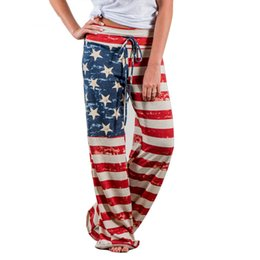 62748a2fdf65 2018 Women Loose Wide Leg Pants Causal Long Straight Trousers American Flag  Print Pant Drawstring Trouser Pajama Pants Plus Size