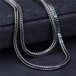 ab8d27f807c0 diseñador de la joyería de la vendimia de plata de ley 925 cadena de cola  de zorro tejida 1.5 mm 45-75 cm marcasite cadena de suéter de las mujeres  cadena ...