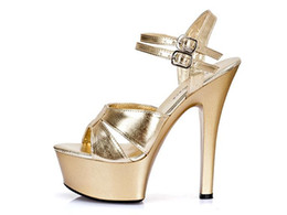 Platform thick high heel gold shoes online shopping - High foot summer sexy and ultra high heels Roman women s shoes and a waterproof platform thick bottom catwalk model shoes