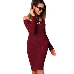 c2a2398fb3f Sexy Red Sweater Dress UK - good quality 2018 Autumn New Sexy Slash Neck  Halter Women