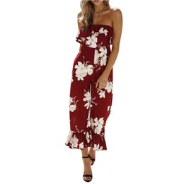 3dbef8e3123 Sexy Off Shoulder Ankle-length Pants Women Playsuits 2018 Summer Backless  Beach Print Rompers Overall