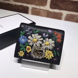 Fresh Fruits japan online shopping - Top Quality Celebrity design Letter diamond Metal Buckle Two fold wallet embroidery FlowersCowhide Leather Short Purse Clutch