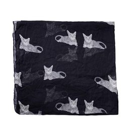 7daf3dc36 Womens Wrap Scarves UK - Womens Cute Cat Print Long Scarf Soft Yarn Wrap  Shawl Stole
