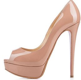 China 2018 Classic Brand Red Bottom High Heels Platform Shoe Pumps Nude Black Patent Leather Peep-toe Women Dress Wedding Sandals Shoes suppliers