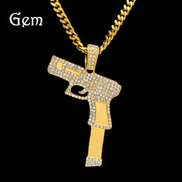 gold gun pendant 2019 - Hip Hop New Bling Bling Gold Silver Plated Pistol Pendant Necklace 70cm Long Cuban Link Chain Gun Necklaces Men Jewelry