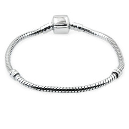 $enCountryForm.capitalKeyWord UK - Wholesale Silver Plated Bracelets Bangle 17CM-20CM Snake Chain DIY Jewelry Accessories for Pandora European Charms and Bead