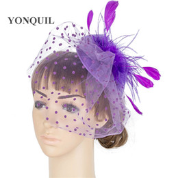 crinoline hair NZ - Perfct color crinoline fascinator headwear feather colorful mesh church hair accessories millinery party show hat MYQ050