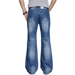 Big Legs Boots UK - 2018 Mens Big Flared Jeans Boot Cut Leg Flared Loose Fit high Waist Male Designer Classic Denim Jeans Pants Bell Bottom