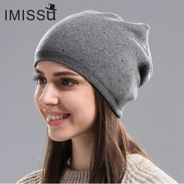 1e55ec86a IMISSU Women's Winter Hat Knitted Wool Beanie Female Fashion Skullies  Casual Outdoor Mask Ski Caps Thick Warm Hats for Women
